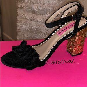 Betsey Johnson Black Velvet & Gold Sequin Heels